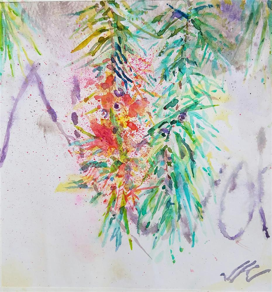 """Bottle Brush and Graffiti"" original fine art by Jean Krueger"