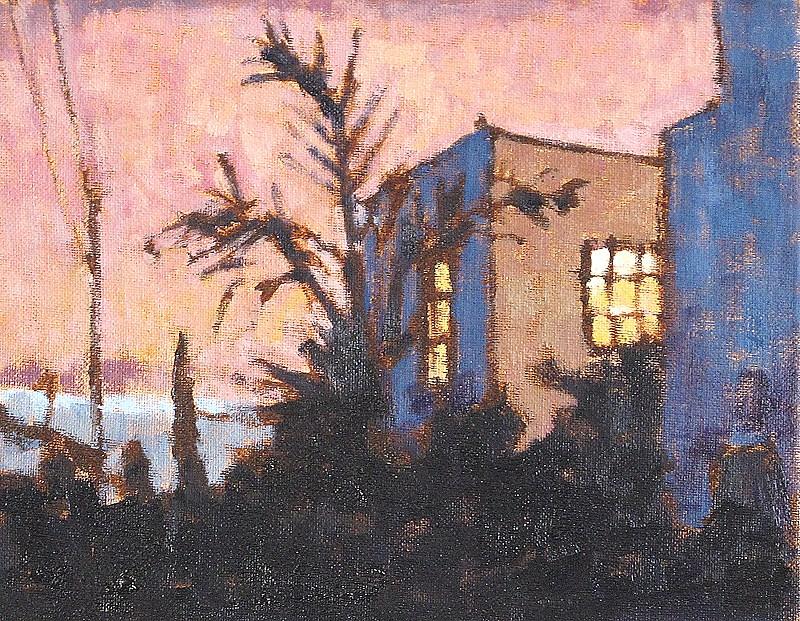 """Fog Rolling In Urban Landscape"" original fine art by Kevin Inman"