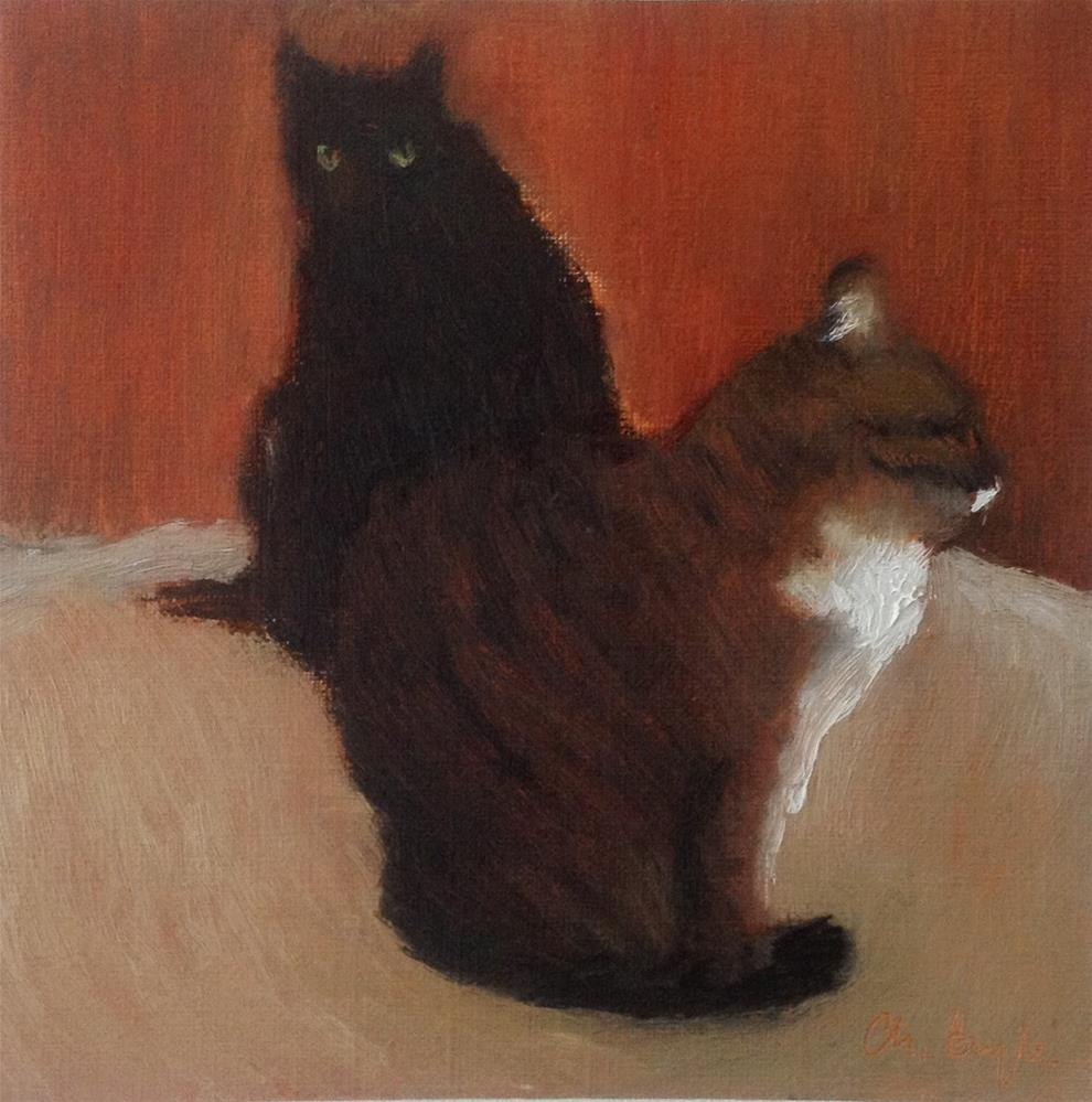 """Two cats"" original fine art by Christine Bayle"