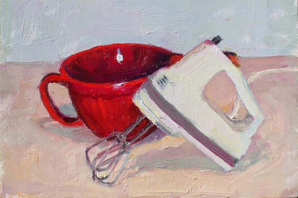 """Mixer,still life,oil on canvas board,5x7,price$100"" original fine art by Joy Olney"