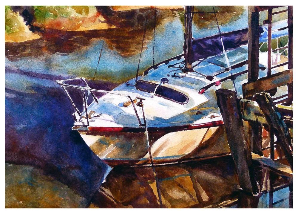 """Skippool mooring 2."" original fine art by Graham Berry"