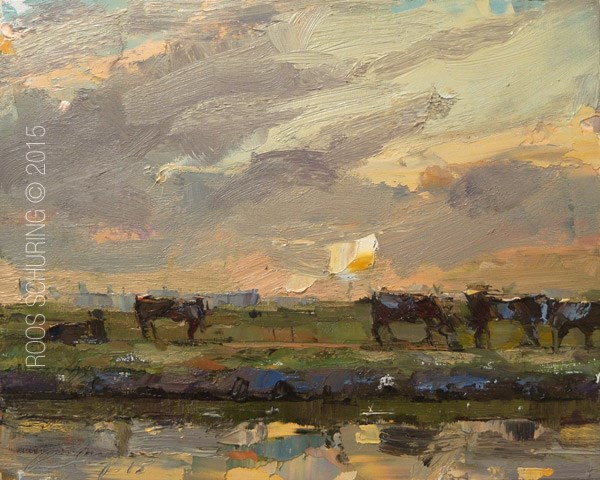 """""""Landscape with Cows"""" original fine art by Roos Schuring"""