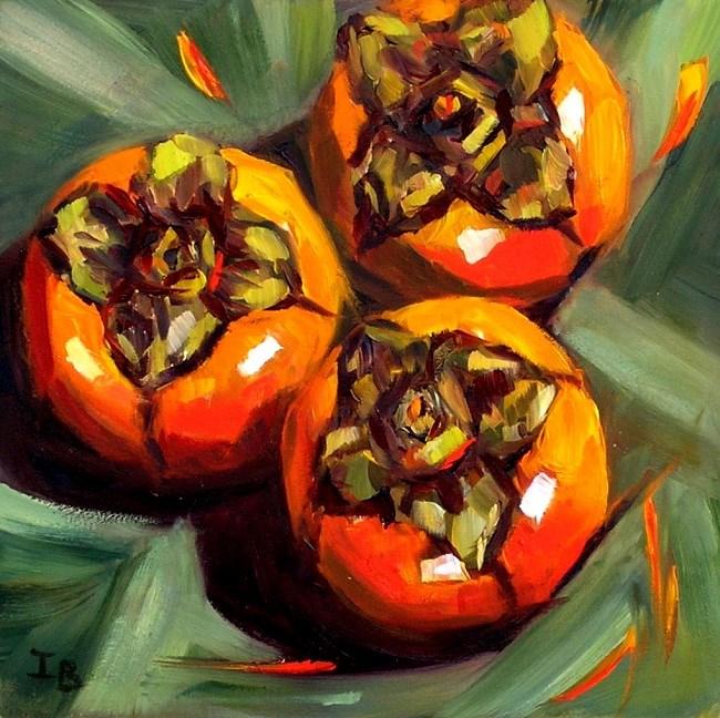 """Trio: persimmons"" original fine art by Irina Beskina"