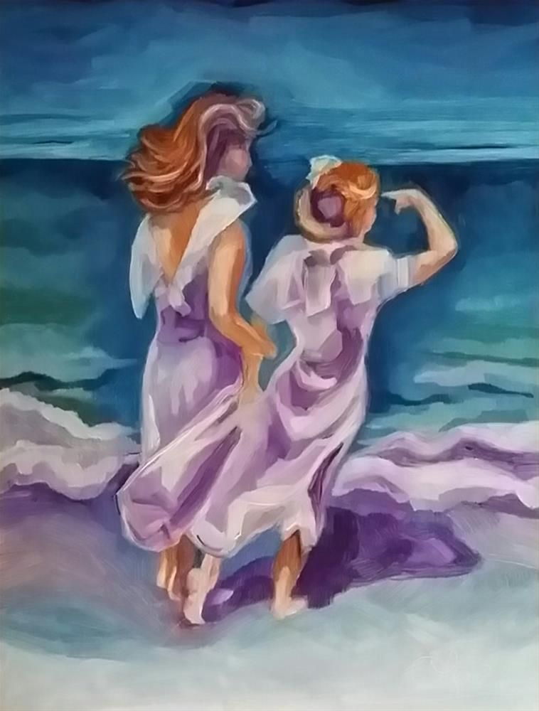 """Sunday Beach Stroll"" original fine art by Leni Tarleton"
