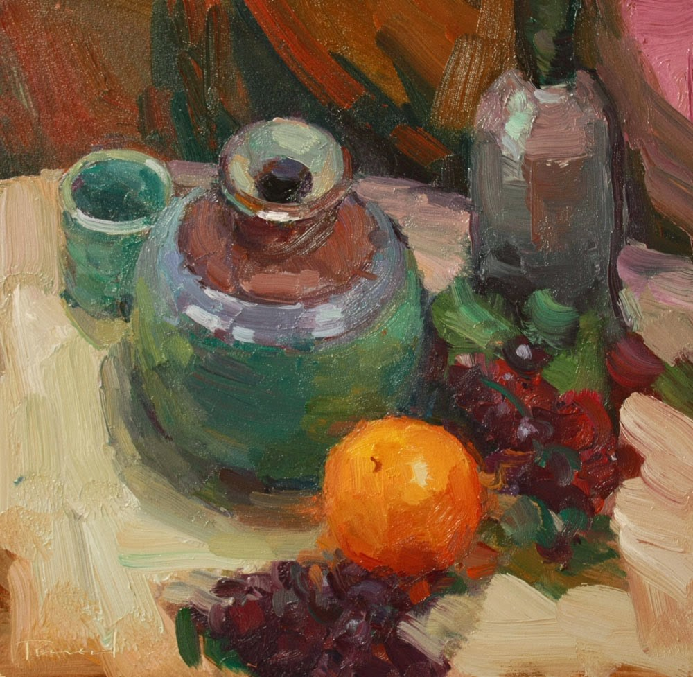 """Pot with Orange"" original fine art by Kathryn Townsend"