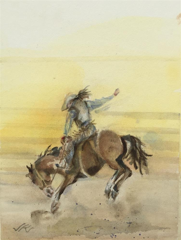 """Bronc Riding"" original fine art by Jean Krueger"