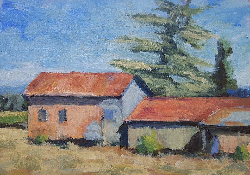 """Barn Row"" original fine art by J. Farnsworth"