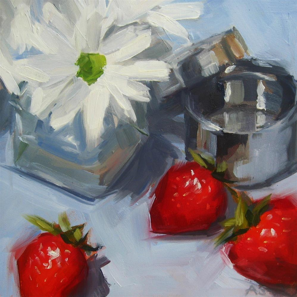 """Daisies, Strawberries"" original fine art by Annie Salness"