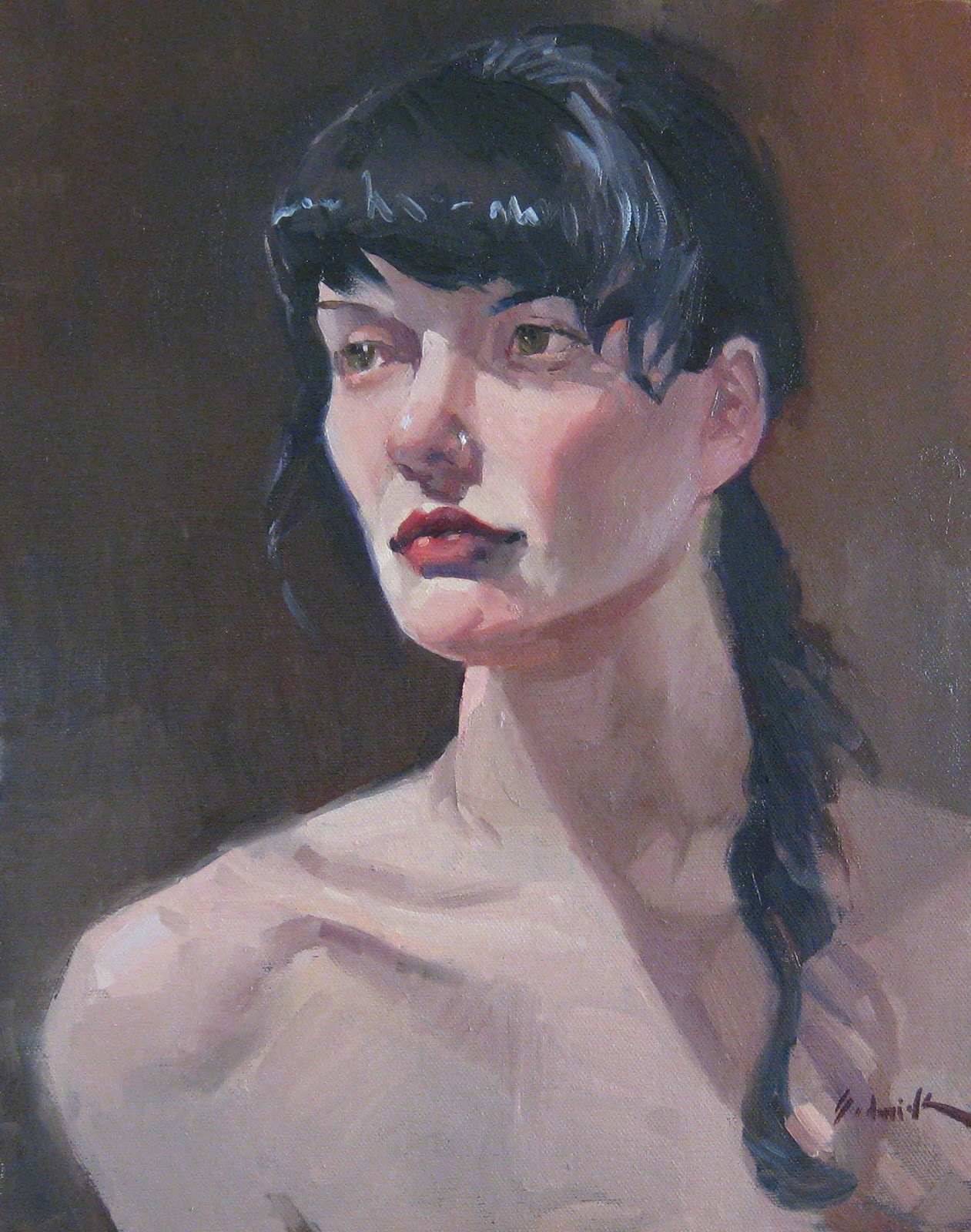 """Faraway Look - Portrait Figure Oil Painting"" original fine art by Sarah Sedwick"