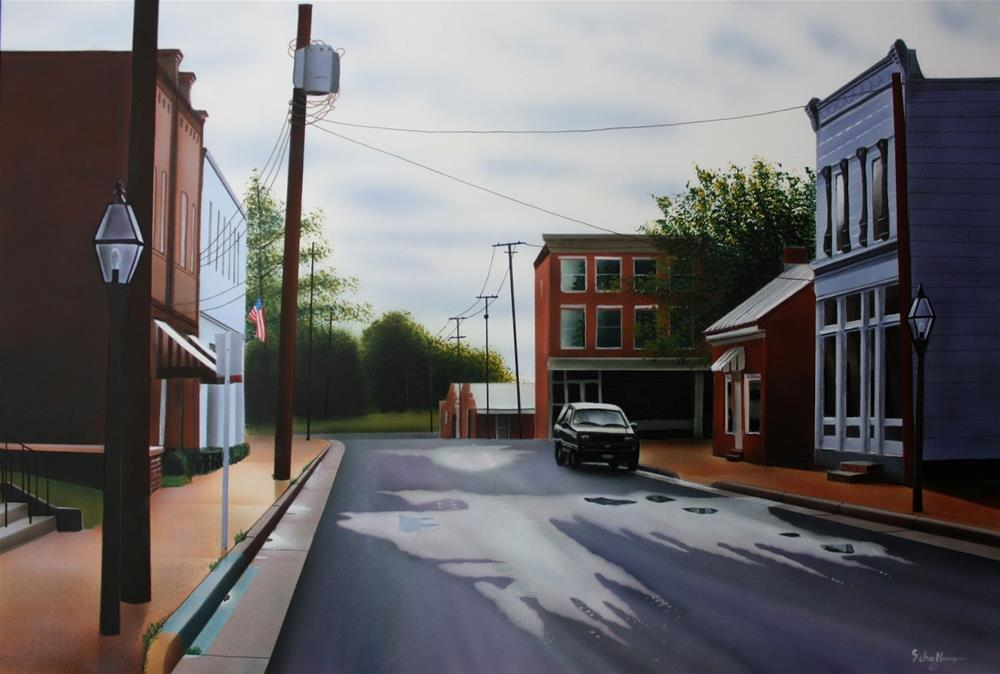"""West Main Street (After the Shower)"" original fine art by Fred Schollmeyer"