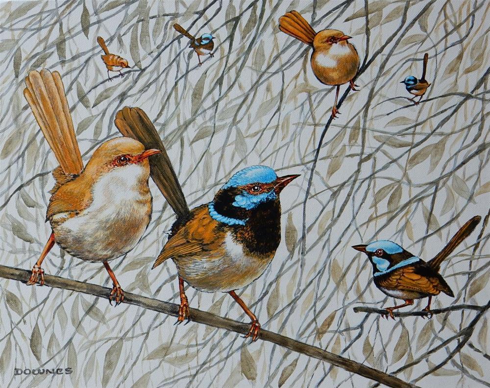 """""""293 BLUE FAIRY WRENS"""" original fine art by Trevor Downes"""