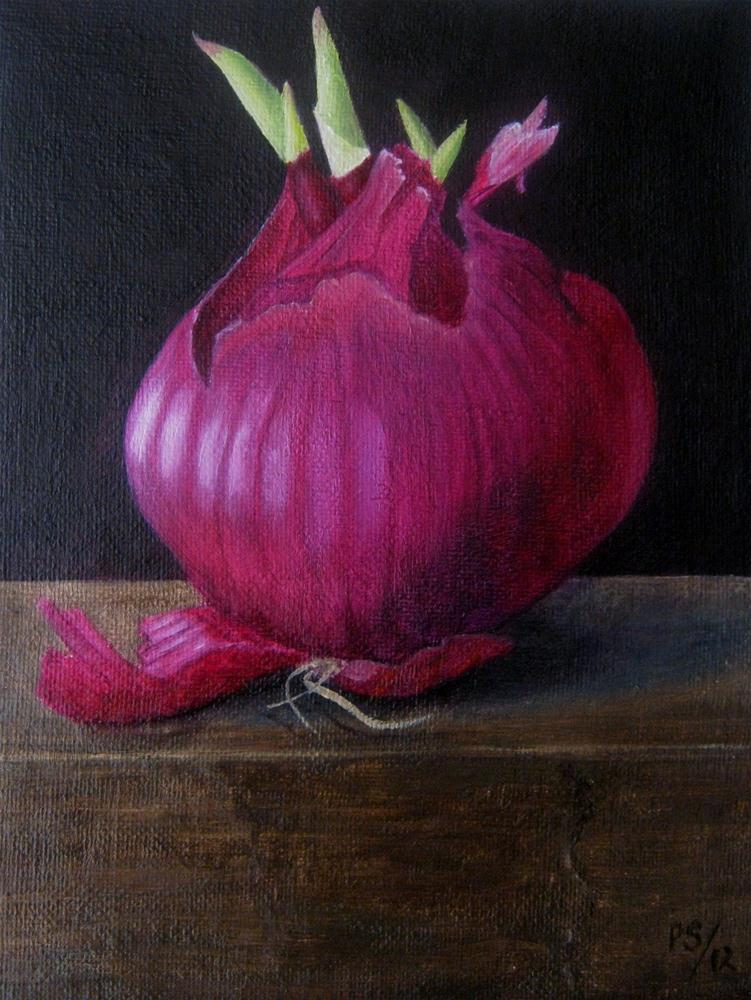 """Red Onion with green"" original fine art by Pera Schillings"