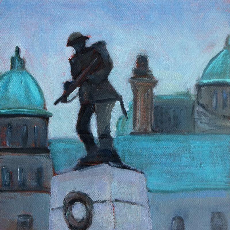 """Hero, oil on panel, 6x6"" original fine art by Darlene Young"