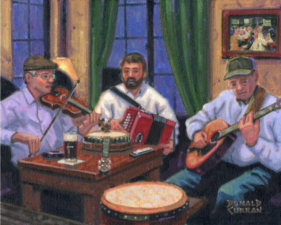 """Irish Pub"" original fine art by Donald Curran"