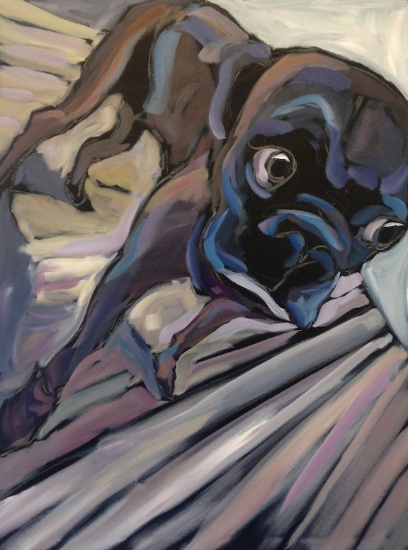 """""""Nervous in the Studio"""" original fine art by Kat Corrigan"""