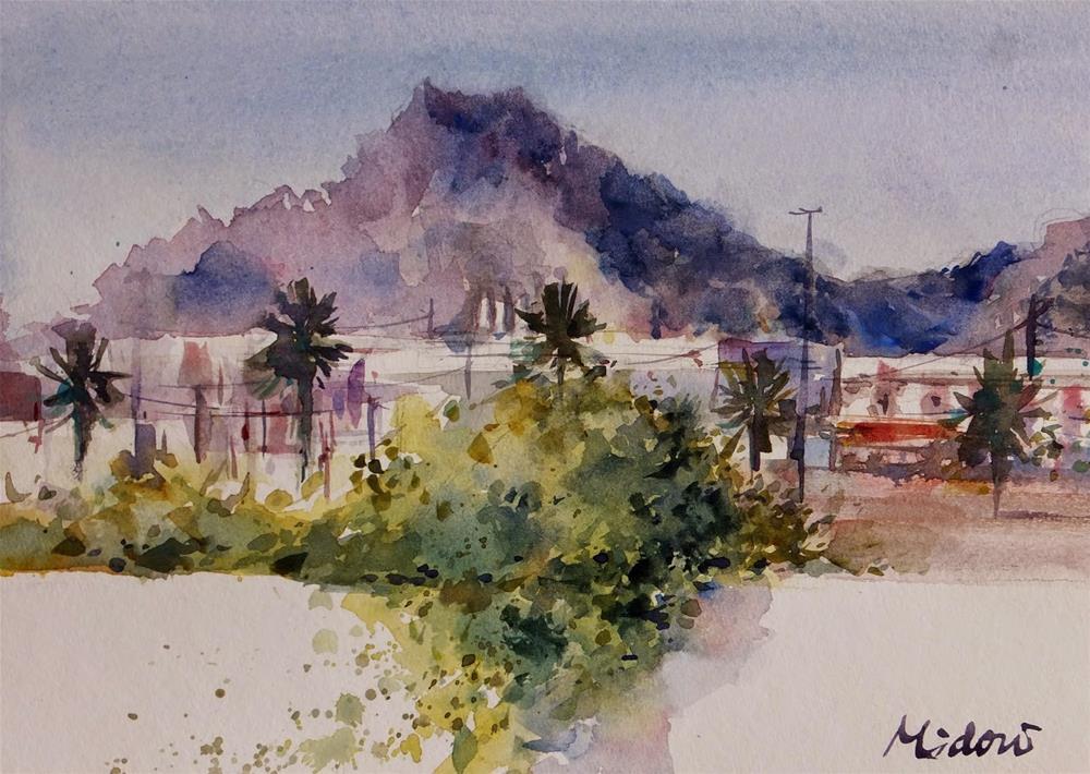 """""""Sanaiya area, Al Ain"""" original fine art by Midori Yoshino"""