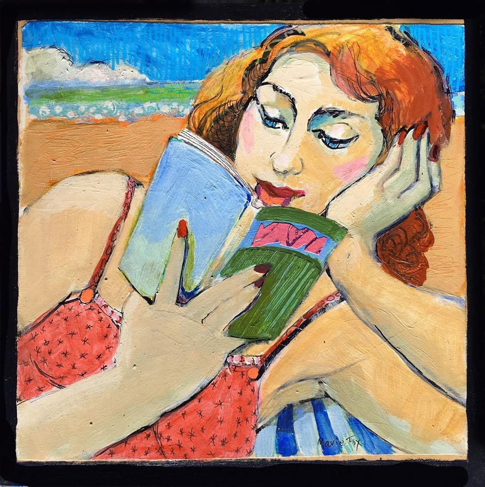 """""""Woman Reading At The Beach, figurative painting, woman art, contemporary figure drawing,"""" original fine art by Marie Fox"""