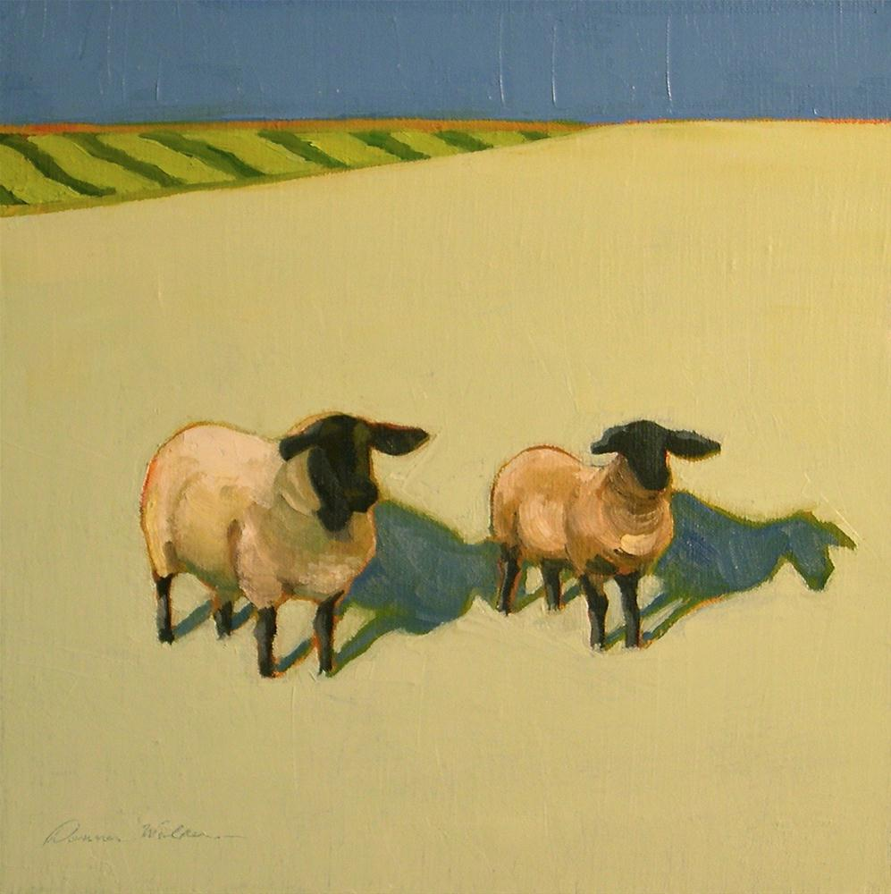 """Sheep Duo"" original fine art by Donna Walker"