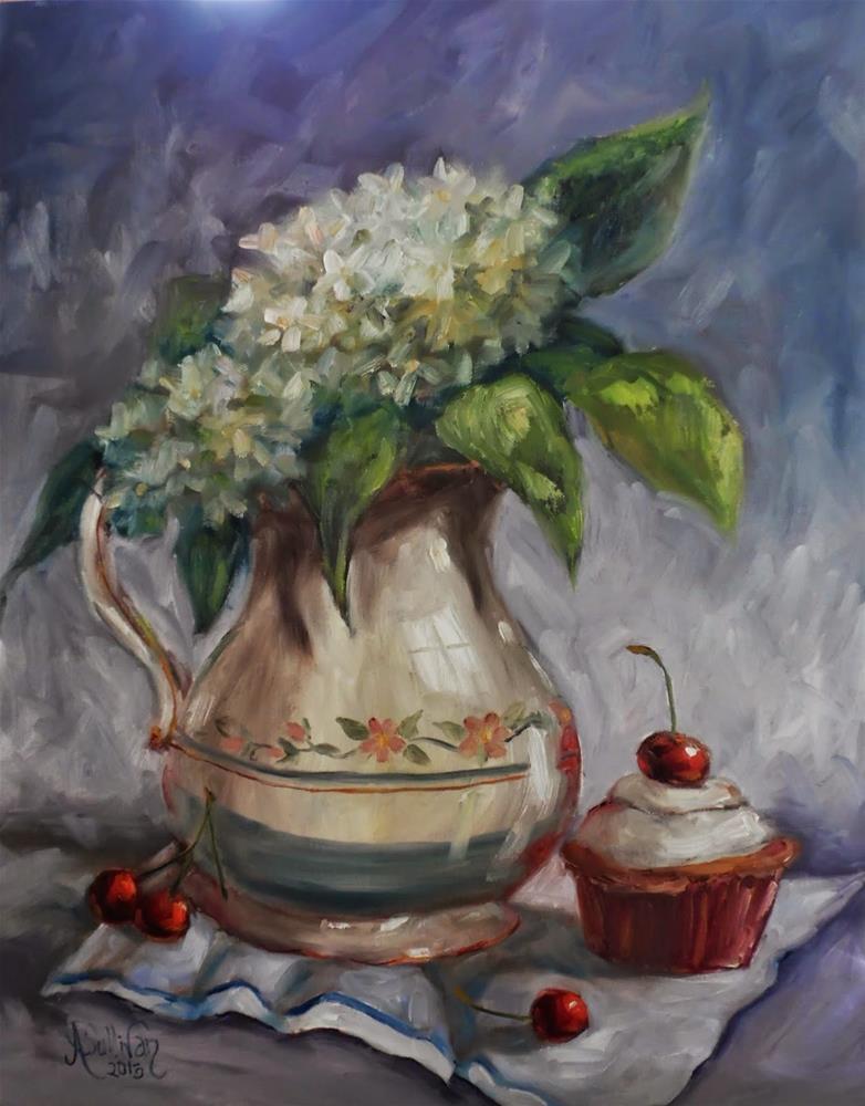 """The Pitcher still life floral painting by Alabama Artist Angela Sullivan"" original fine art by Angela Sullivan"