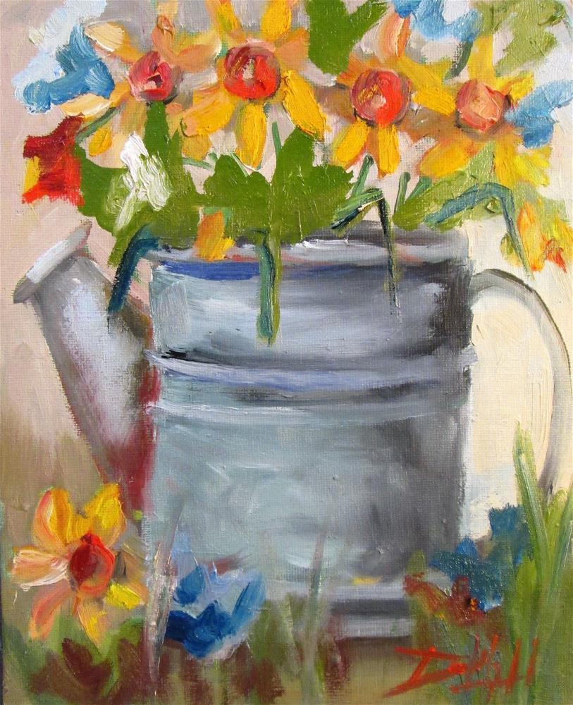 """Watering Can and Daffodils"" original fine art by Delilah Smith"