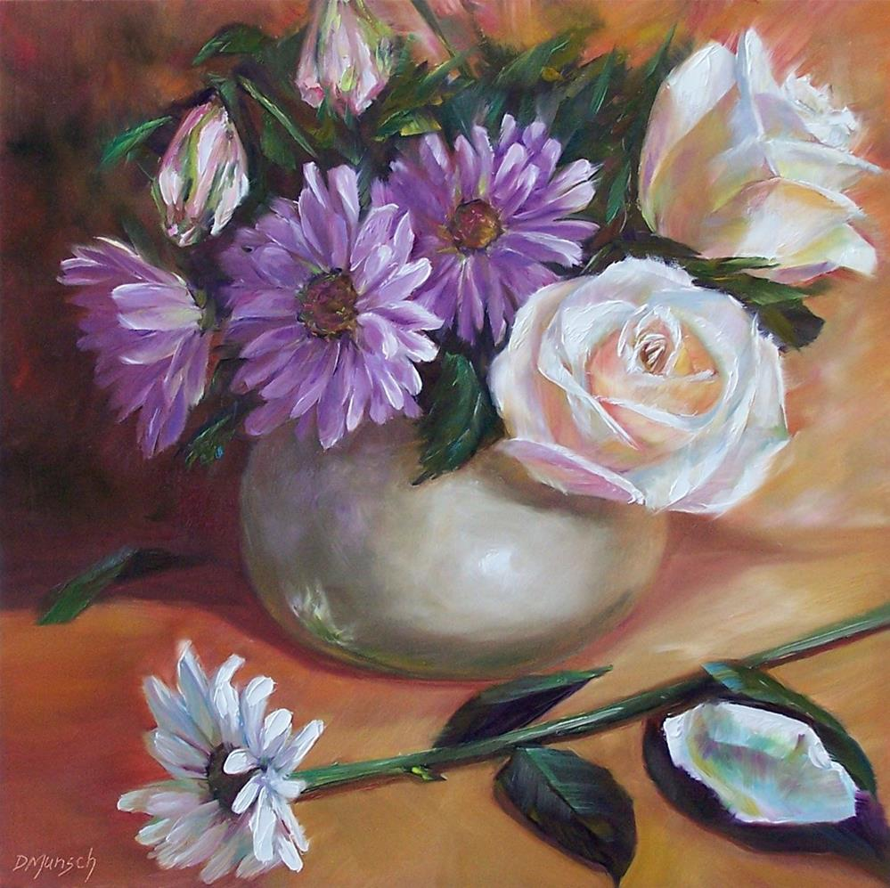 """""""White Roses and Daisies"""" original fine art by Donna Munsch"""