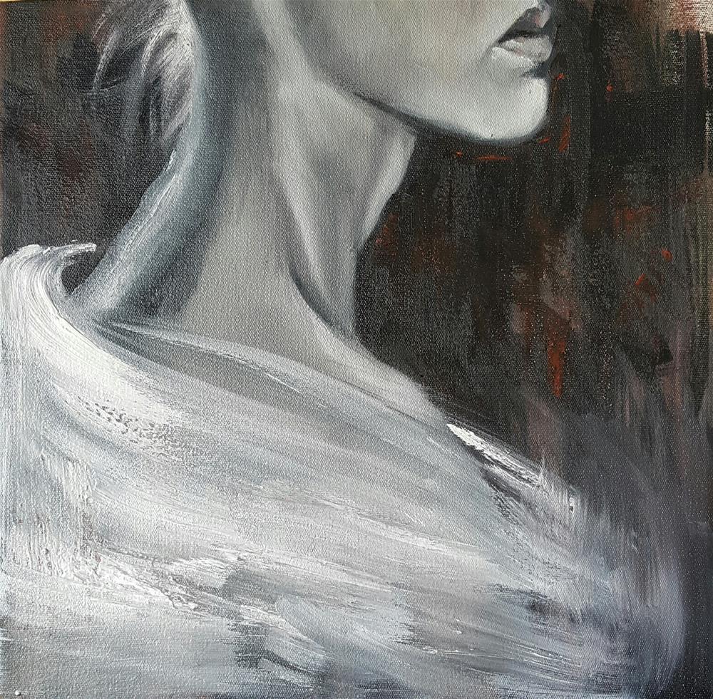 """The white shawl"" original fine art by Rentia Coetzee"