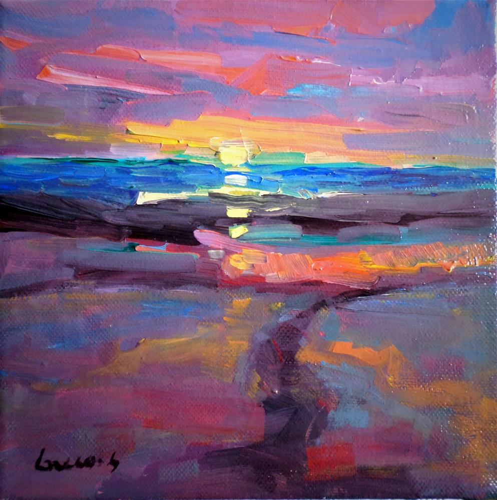"""Sunset on the beath"" original fine art by salvatore greco"