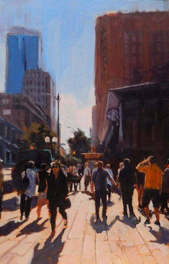 """Westlake Shoppers Seattle cityscape, oil painting by Robin Weiss"" original fine art by Robin Weiss"