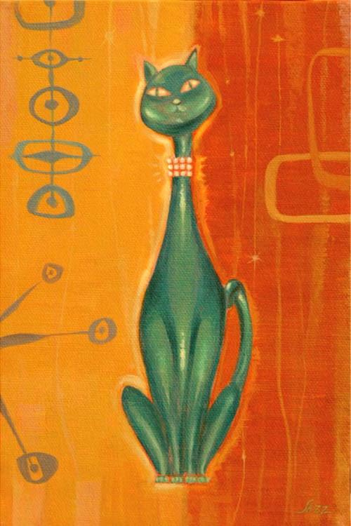"""Jade Kitty Bling"" original fine art by Shawn Shea"