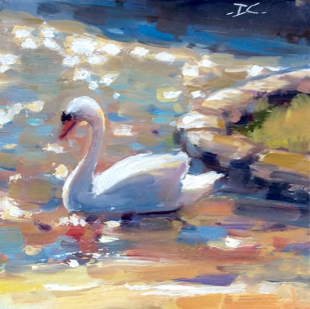 """""""SWAN GLITTER"""" original fine art by Doug Carter"""