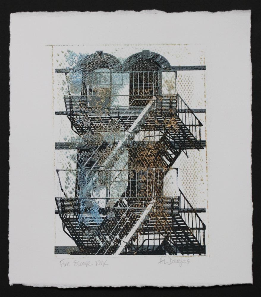 """Fire Escape NYC #9 - M2"" original fine art by Heather Douglas"
