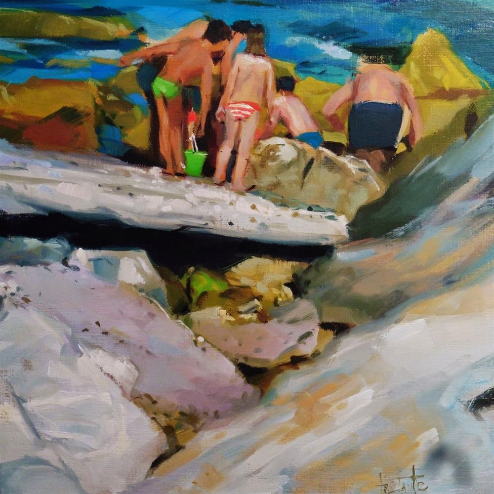 """Looking for crabs"" original fine art by Víctor Tristante"