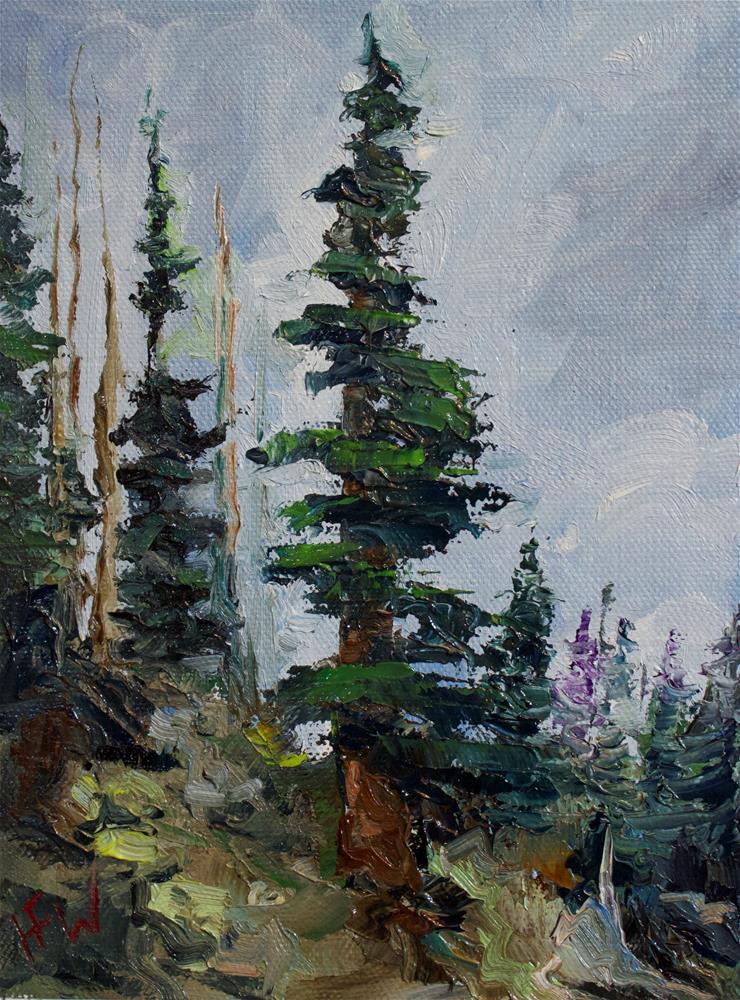 """Wheathered Pines"" original fine art by H.F. Wallen"