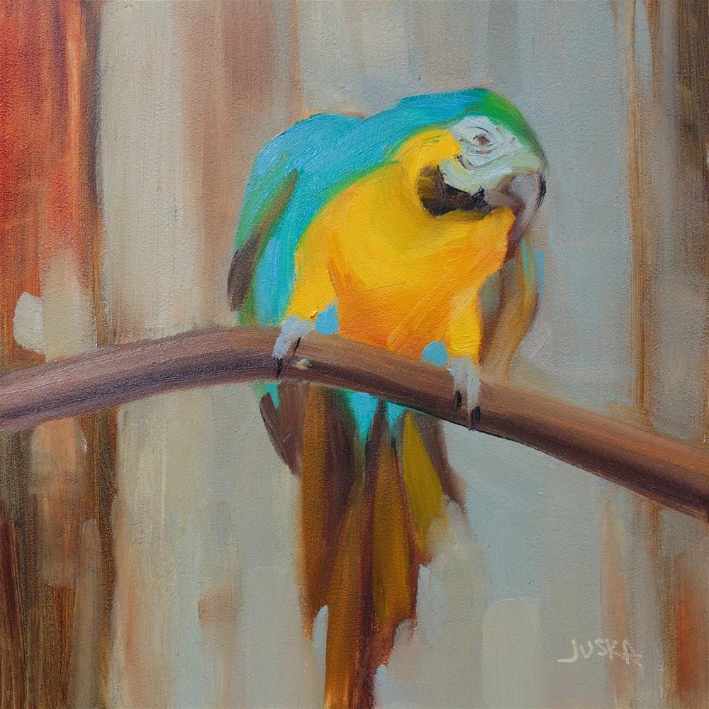 """""""Macaw"""" original fine art by Elaine Juska Joseph"""