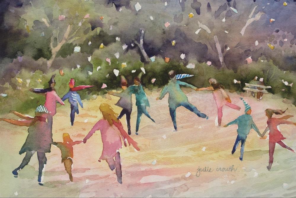 """Skaters"" original fine art by Julie Crouch"