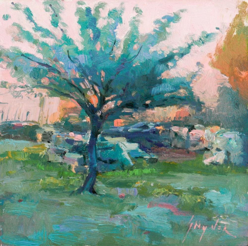 """""""Spring Dusk, Apricot Tree"""" original fine art by Julie Snyder"""