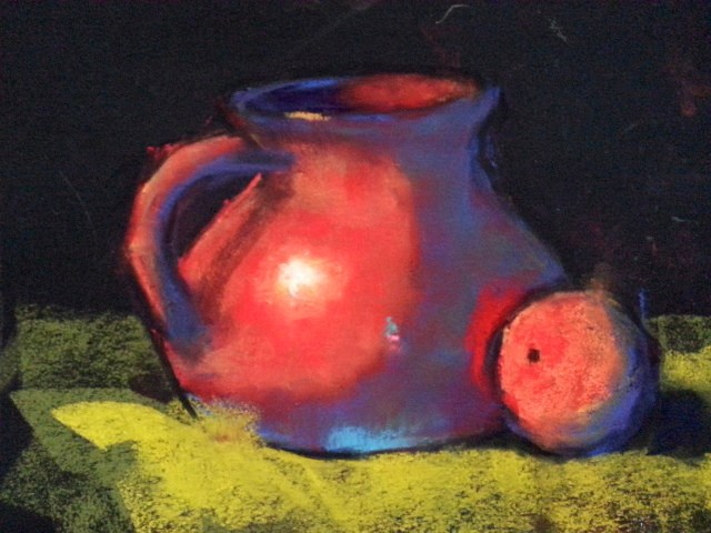 """Red pot with orange"" original fine art by Sunkyung Choi"