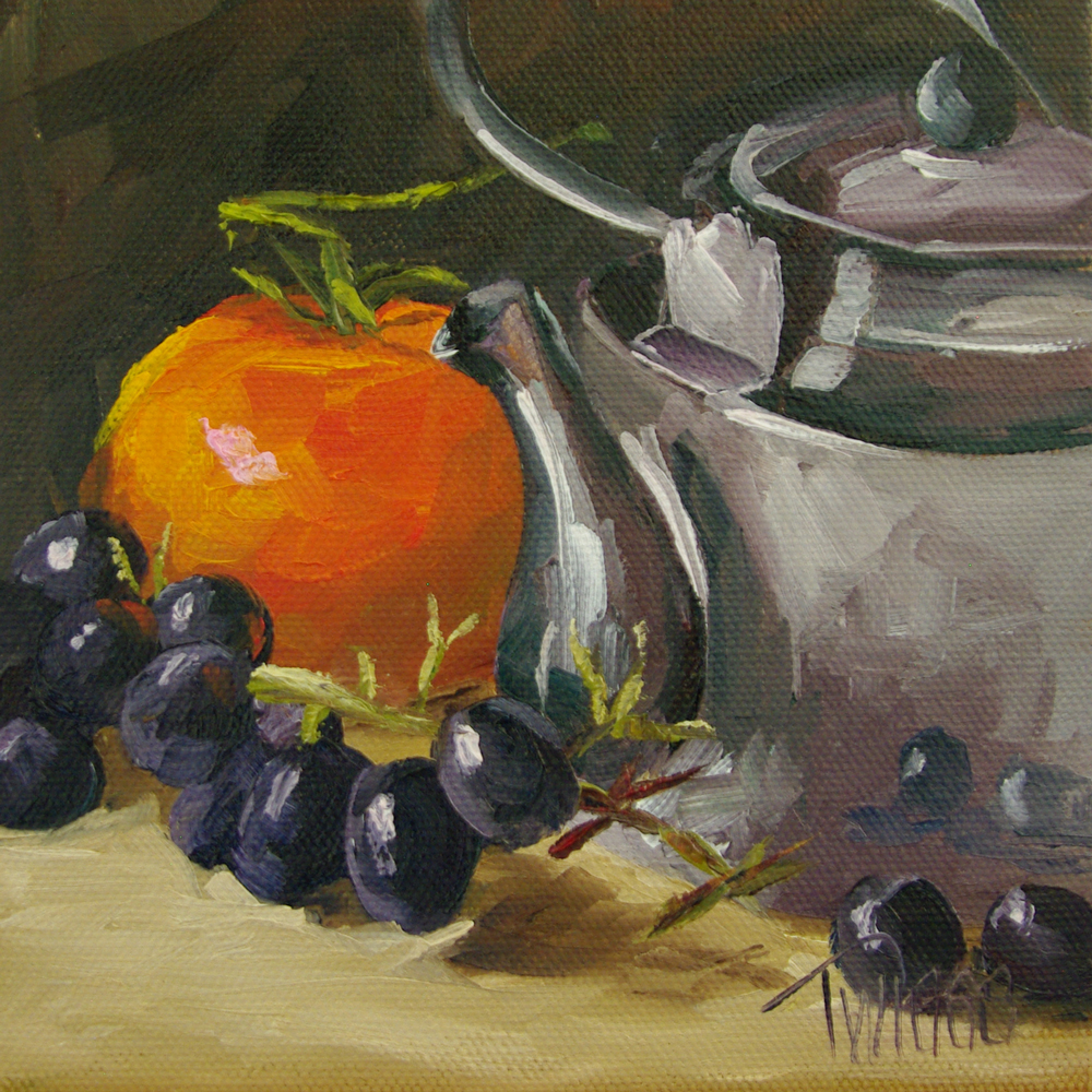 """Radiant Tomato, Grapes & Tea Kettle"" original fine art by Lori Twiggs"