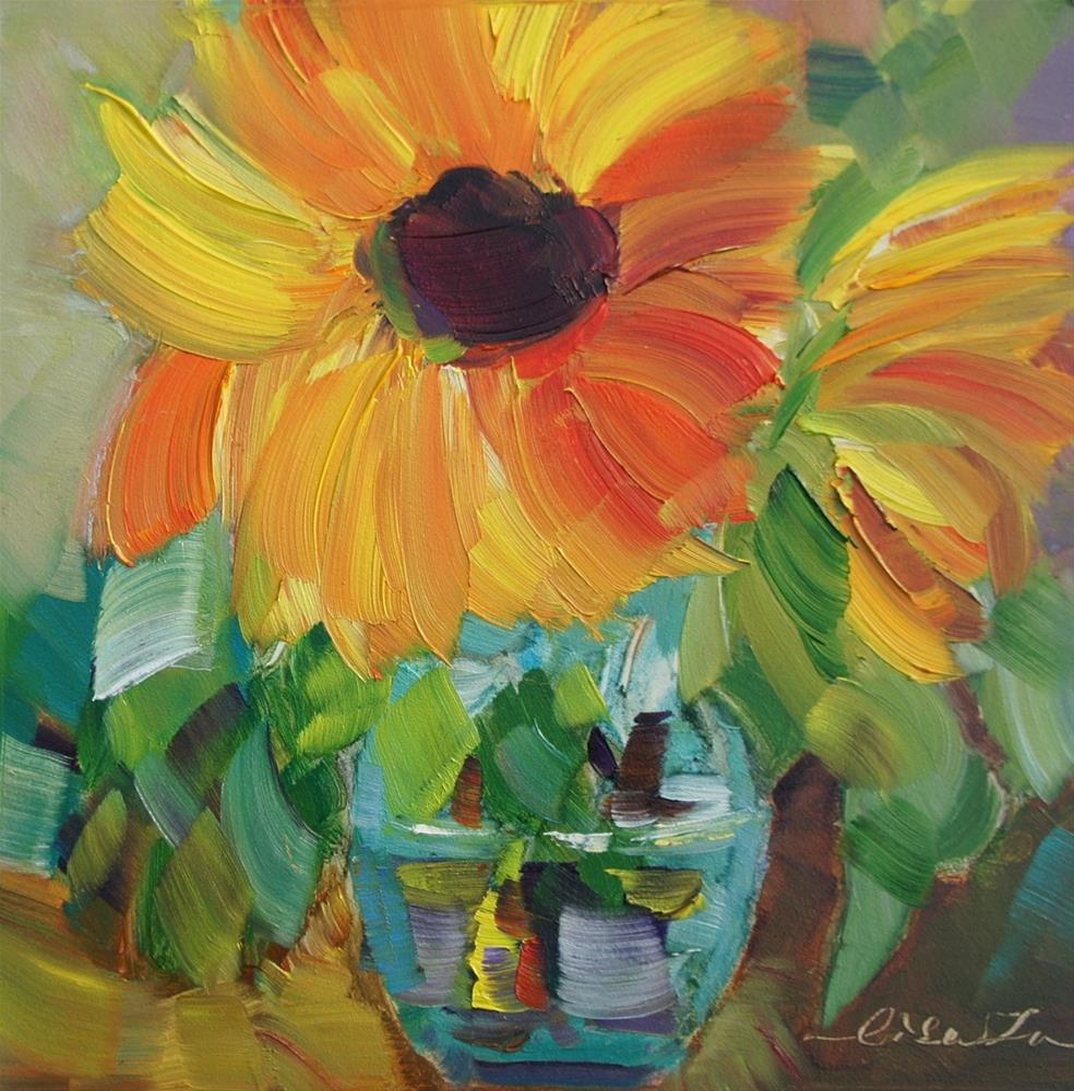 """Sunflowers"" original fine art by Lisa Fu"