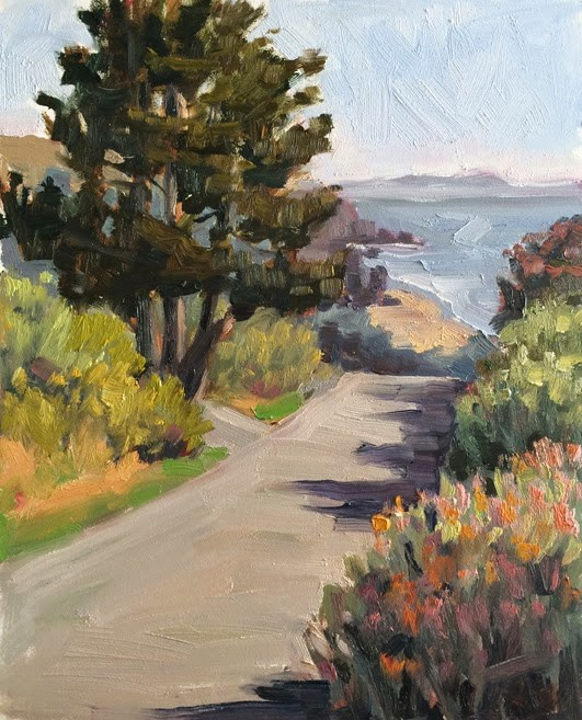 """Beautiful Day Above Stinson Beach"" original fine art by Deborah Newman"