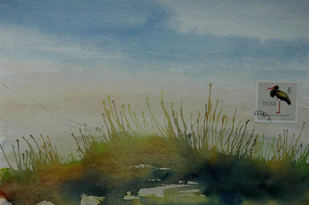 """""""Schwarzstorch, Polen (Black Stork Poland)"""" original fine art by Ulrike Schmidt"""