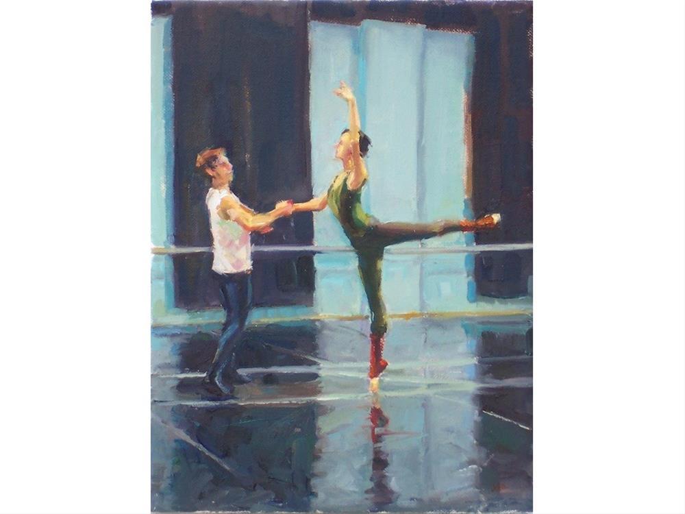 """Rehearsal,figures,oil on canvas,12x9,price$775"" original fine art by Joy Olney"