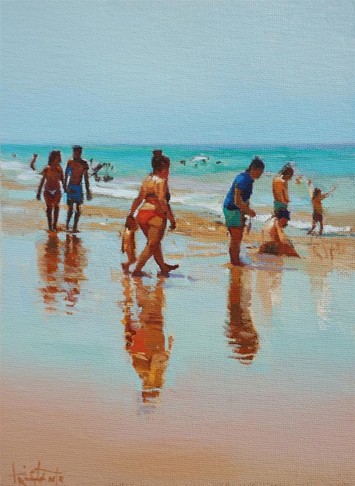 """""""People at the beach"""" original fine art by Víctor Tristante"""