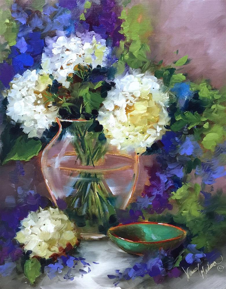"""Flower Fellowship White Hydrangeas - Nancy Medina Art Videos and Classes"" original fine art by Nancy Medina"
