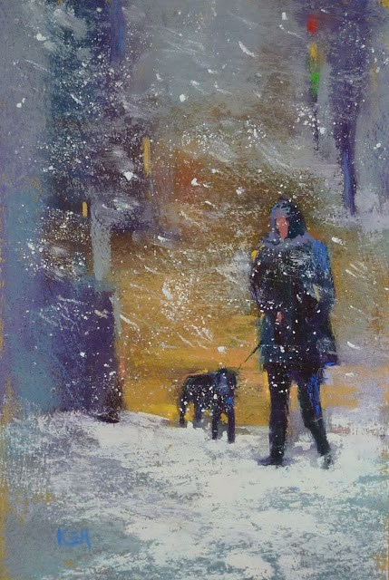 """How to Create a Snow Storm in Pastel"" original fine art by Karen Margulis"