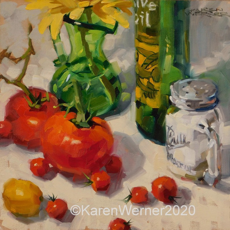 """Summer Tomatoes"" original fine art by Karen Werner"