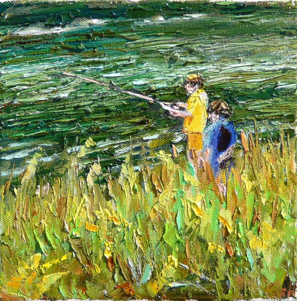 """Pals Fishing,figures,oil on canvas,8x8,price$500"" original fine art by Joy Olney"