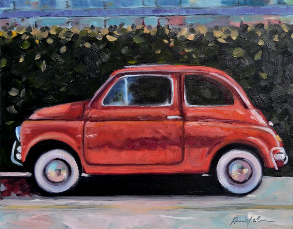 """""""Red Fiat"""" original fine art by Karen Weber"""