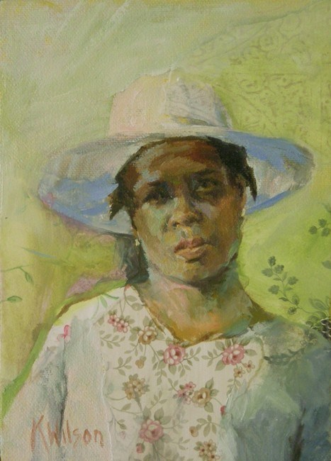"""White Hat"" original fine art by Katie Wilson"