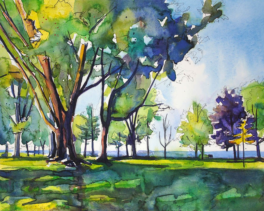 """Trees Along Lake Ontario"" original fine art by Chris Breier"